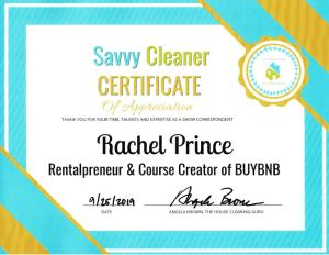 Rachel Prince, Rentalpreneur and BUYBNB, Savvy Cleaner Correspondent