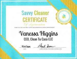 Vanessa Higgins, Clean Tu Casa, Savvy Cleaner Correspondent