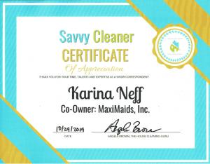 Karina Neff, MaxiMaids, Inc. Savvy Cleaner Correspondent