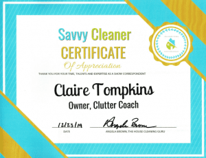 Claire Tompkins, Clutter Coach, Savvy Cleaner Correspondent