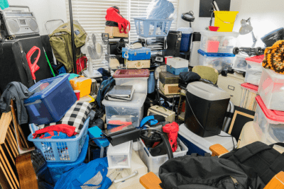 Hoarding Jobs, Clutter Piles in Messy House