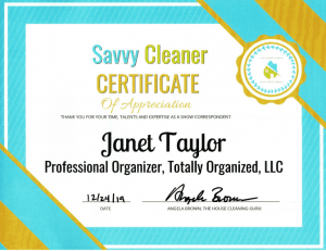 Janet Taylor, Totally Organized LLC, Savvy Cleaner Training