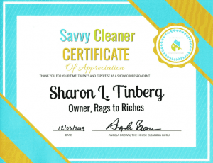 Sharon Tinberg, Rags to Riches, Savvy Cleaner Correspondent