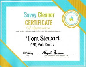 Tom Stewart, Maid Central, Savvy Cleaner Correspondent
