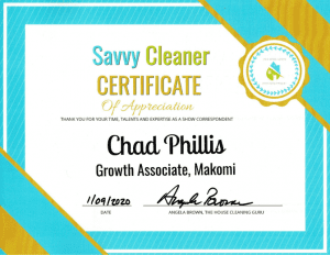 Chad Phillis, Makomi, Savvy Cleaner Correspondent