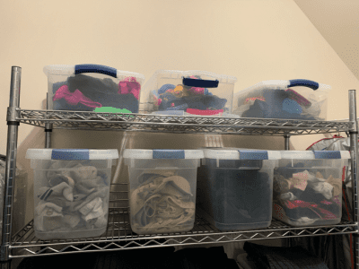 Clean Around Lived In, Clear Totes of Socks in Closet