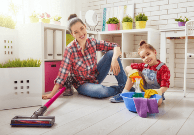 Clean Around Lived In, Mother Daughter Cleaning