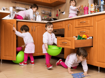 Cleaning Relaxes Me Should I Start a Business, Five Toddlers in Kitchen Making Mess