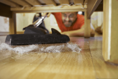 Cleaning Relaxes Me Should I Start a Business, Man Cleaning Dust Under Bed