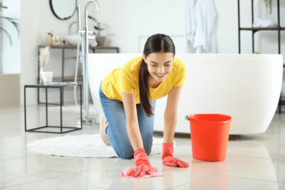Cleaning Relaxes Me Should I Start a Business, Smiling Woman Cleaning Floor