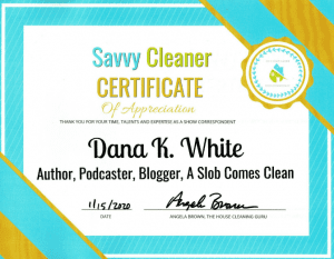 Dana K. White, A Slob Comes Clean, Savvy Cleaner Correspondent