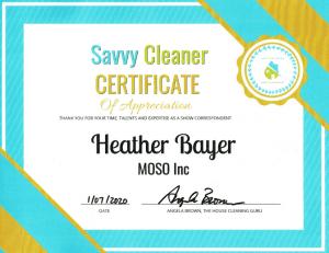 Heather Bayer, MOSO Inc, Savvy Cleaner Correspondent