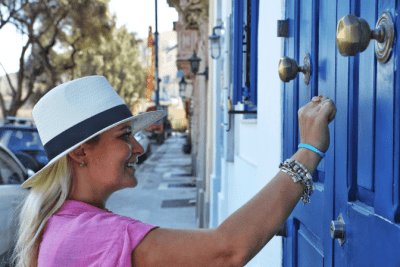 When Flyers Don't Work, Woman Knocking on Door