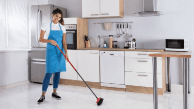 Area Won't Support Cleaning housecleaner sweeping kitchen floor