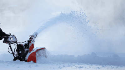 Area Won't Support Cleaning man using snow blower