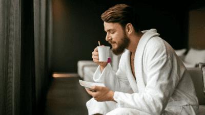 How Early Can I Clean guy in bathrobe drinking tea