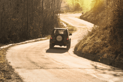 Personal vs. Professional You, Car on Rural Road