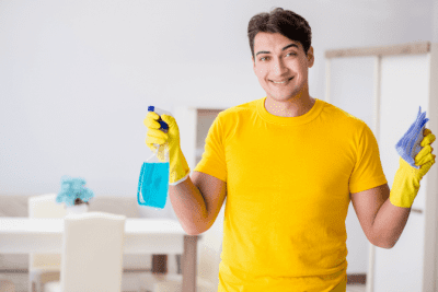 Personal vs. Professional You, Man Holding Cleaning Products