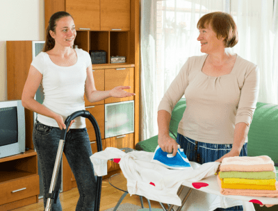 Personal vs. Professional You, Young Woman Helping Woman Clean