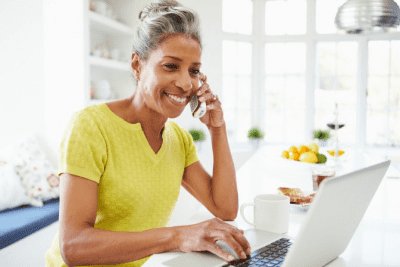 Retire from House Cleaning woman on phone computer