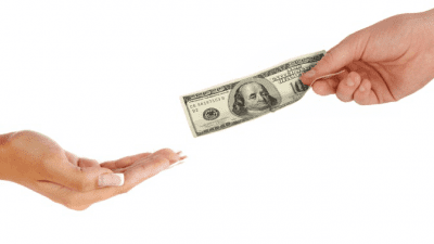Help Your Competition hands giving and receiving money isolated