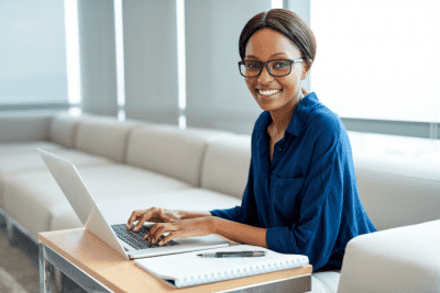 Advertising for Your House Cleaning Business, Woman Working on Computer