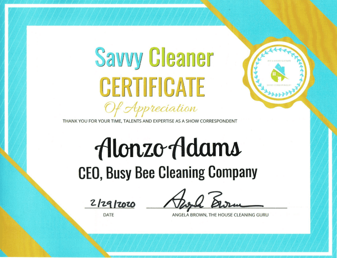 Alonzo Adams, Busy Bee Cleaning Compay, Savvy Cleaner Correspondent
