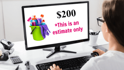 Booking Software - Is That a Firm Price or an Estimate, Woman on Computer, This is an Estimate Only