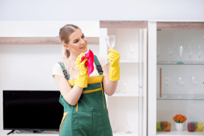 Fragile Collections, Woman Cleaning Crystal Glass