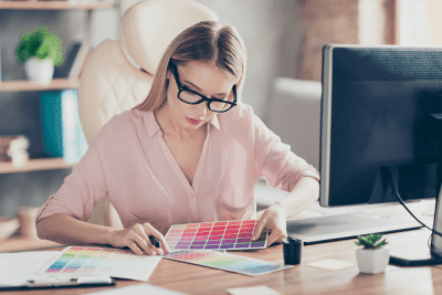 Logo Colors - What Do They Mean, Woman Looking at Colors