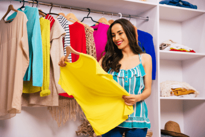 Logo Colors - What Do They Mean, Woman Looking at Yellow Shirt