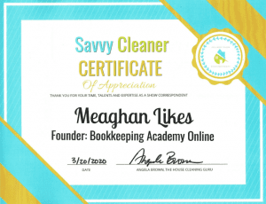 Meaghan Likes, Bookkeeping Academy Online, Savvy Cleaner Correspondent