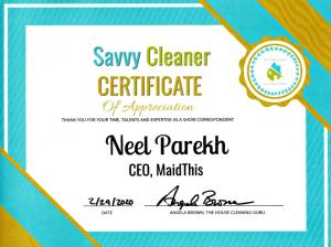 Neel Parekh, MaidThis, Savvy Cleaner Correspondent