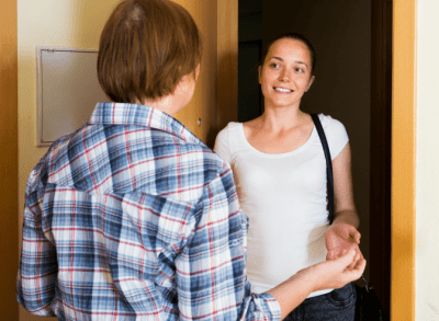 Advertise Without Scare Tactics, Woman Arriving at Front Door