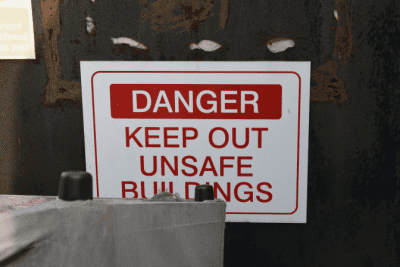 Can I Sue My Cleaning Company, Danger Sign for Unsafe Building