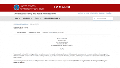 Can I Sue My Cleaning Company, Occupational Safety Health Act