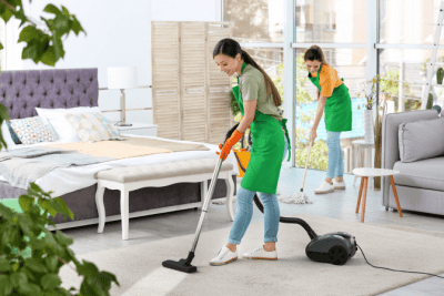 Business Owners to Gain Respect, Two House Cleaners Cleaning Bedroom