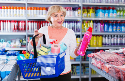 Spend Annually on Cleaning Supplies, Woman Buying Cleaning Supplies
