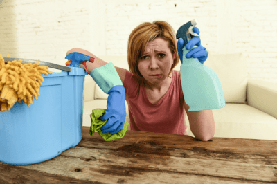 Can I Charge by the Hour for House Cleaning, Frustrated Woman Cleaning House