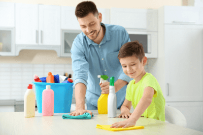 Norwex for Cleaning, Man and Boy Cleaning