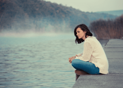 Depressed and Can't Cope with Cleaning, Woman Sitting on Dock