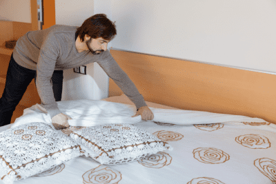 It Will Never Be Easier Than Right Now, Man Makes Bed