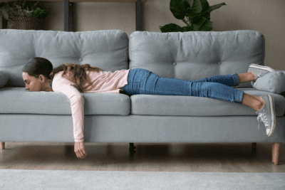 It Will Never Be Easier Than Right Now, Tired Woman on Couch