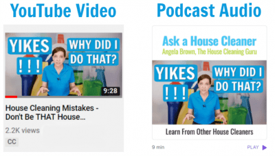 The Results from 900 House Cleaning Shows, YouTube Video Podcast Audio