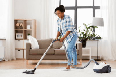 Cleaning Cloths - Who Provides Them, House Cleaner Vacuuming