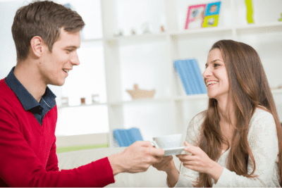 Can't Clean Because of Too Much Stuff, Man Bringing Woman Cup of Tea