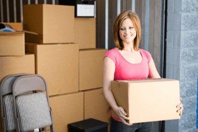 Can't Clean Because of Too Much Stuff, Woman Carrying Box