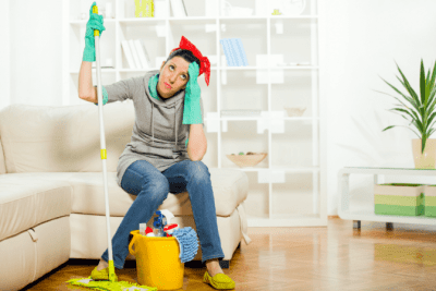 How to Get Cleaning Clients Online, Tired House Cleaner