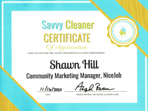 Shawn Hill NiceJob Savvy Cleaner Correspondent
