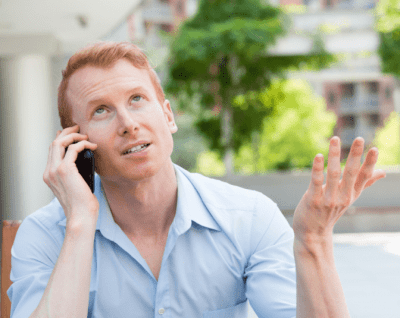 Gave His Power Away, Frustrated Man Talking on Phone